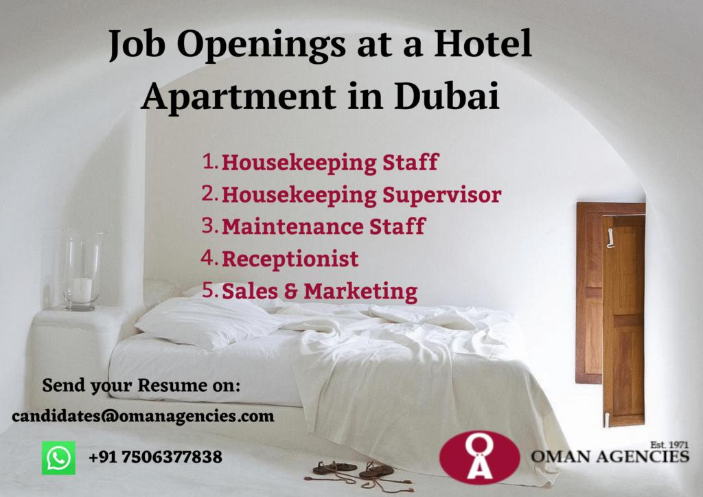 Job Openings at a Hotel Apartment in Dubai